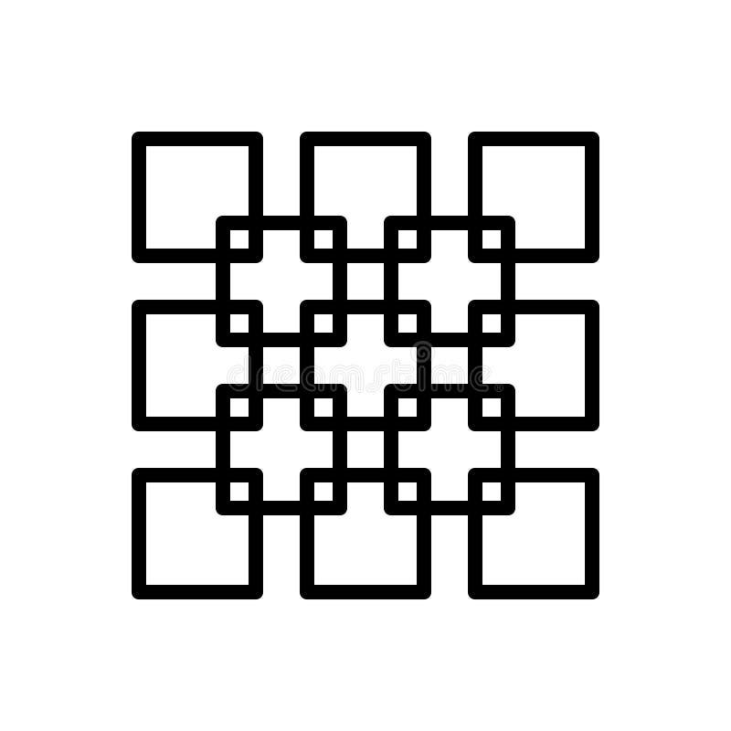 Het zwarte lijnpictogram voor Join, verenigt zich en verbindt stock illustratie