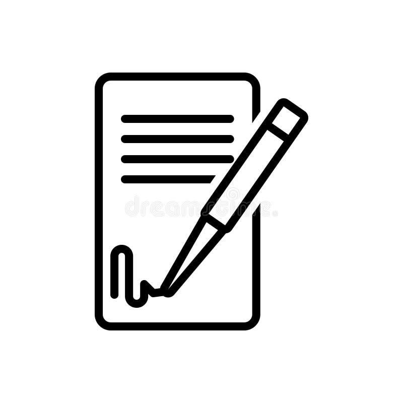 Het zwarte lijnpictogram voor het Ondertekenen van Contact, handtekening en koppelt terug stock illustratie