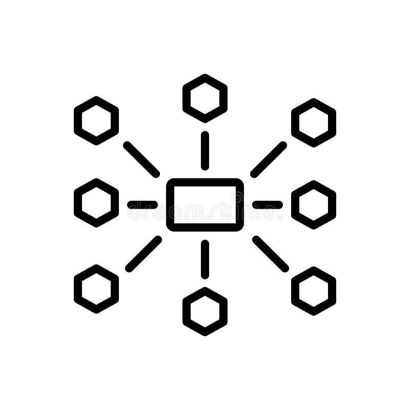 Het zwarte lijnpictogram voor Outsource Beheer, verdeelt opnieuw en gebruikt vector illustratie