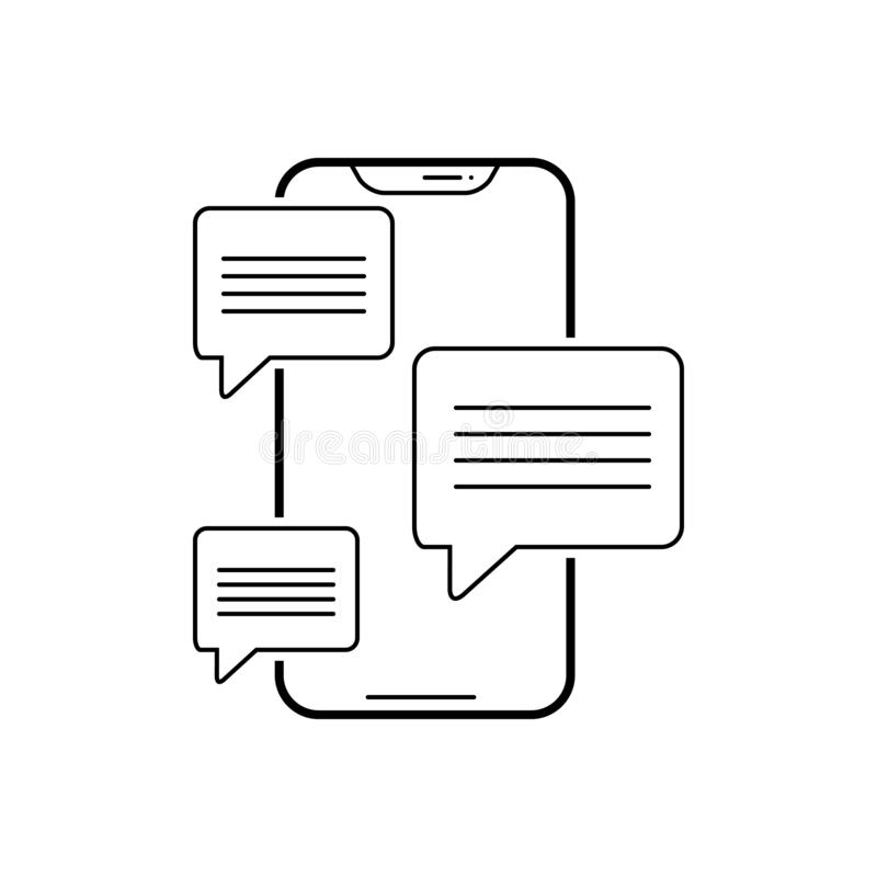 Het zwarte lijnpictogram voor Overseinen app, verzendt en woord royalty-vrije illustratie