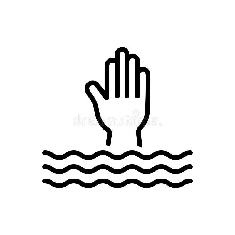 Het zwarte lijnpictogram voor Overwhelm, moeras en begraaft vector illustratie