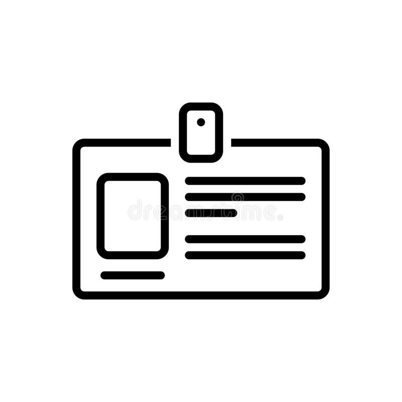 Het zwarte lijnpictogram voor Persoonlijke Identiteitskaart, geeft en geheim te kennen stock illustratie