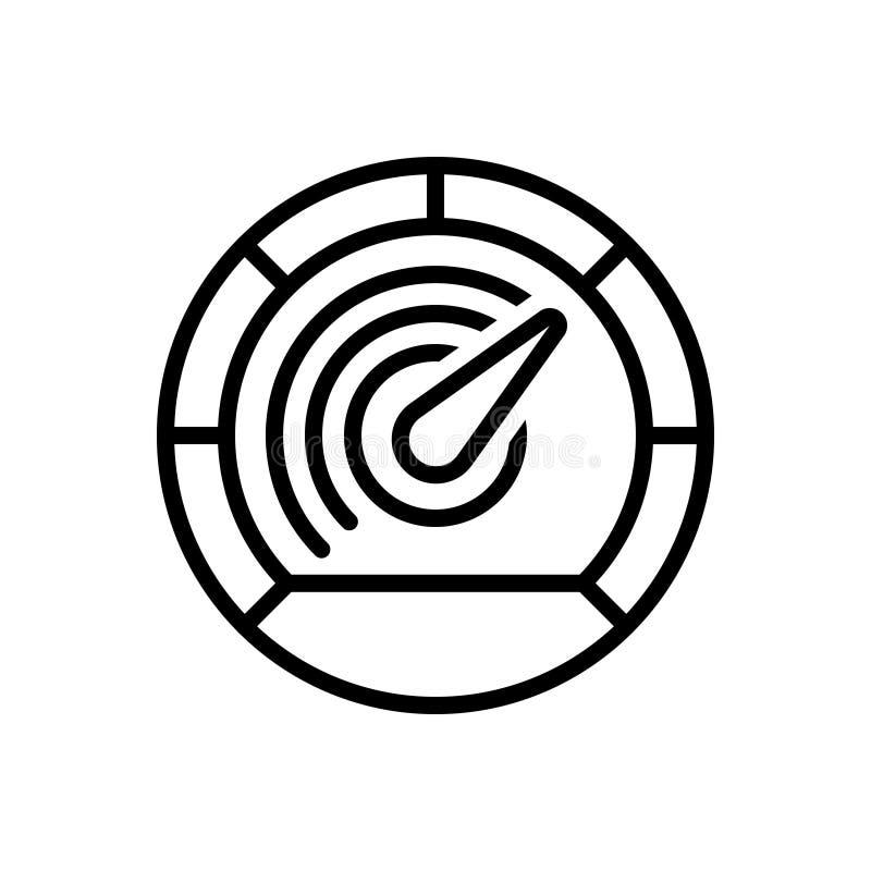 Het zwarte lijnpictogram voor Snelheidsmeter, versnelt en pijl stock illustratie