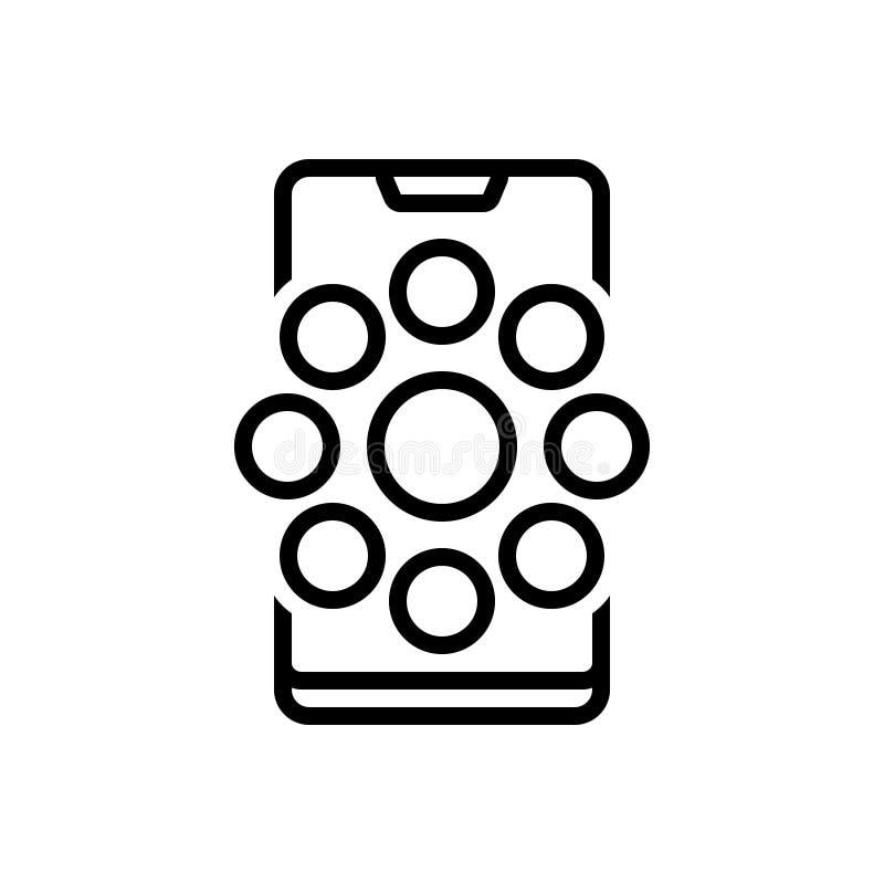 Het zwarte lijnpictogram voor Sociale Kanalen, mededeling en socialiseert vector illustratie