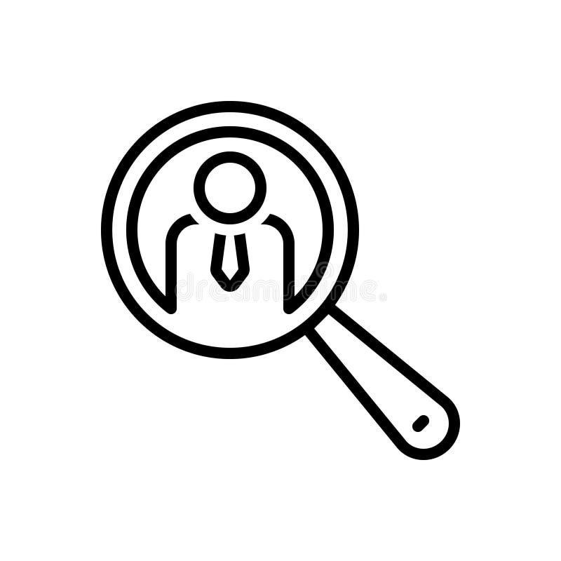 Het zwarte lijnpictogram voor het Symbool van Zoekenmensen, overdrijft en interviewt royalty-vrije illustratie