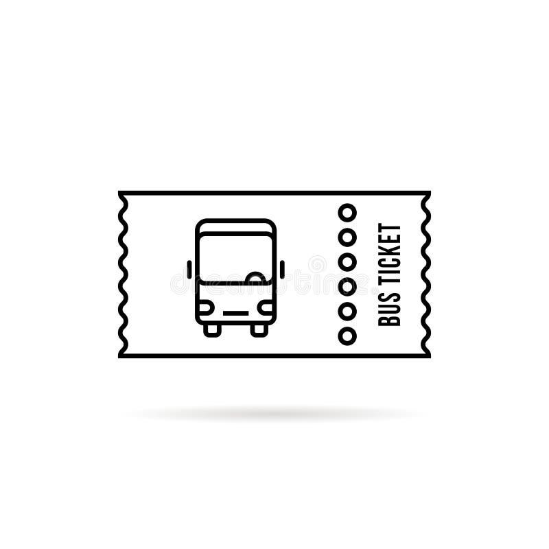 Het zwarte lineaire eenvoudige embleem van het buskaartje vector illustratie