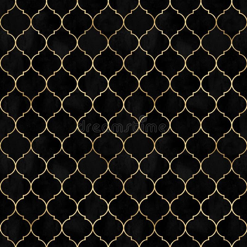 Het zwarte Marokkaanse naadloze patroon van het waterverf uitstekende decoratieve fluweel royalty-vrije stock fotografie