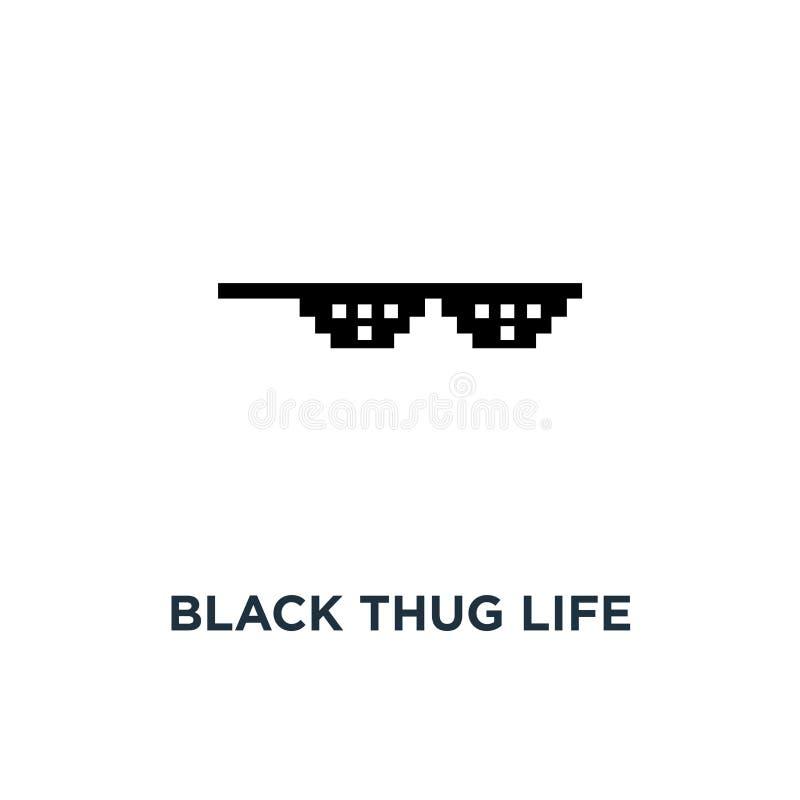 het zwarte misdadigersleven meme zoals glazen in de stijlpictogram van de pixelkunst, symbool van de cultuur van de gettolevensst royalty-vrije illustratie