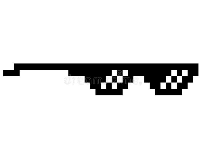 Het zwarte misdadigersleven meme zoals glazen in pixelart. stock illustratie