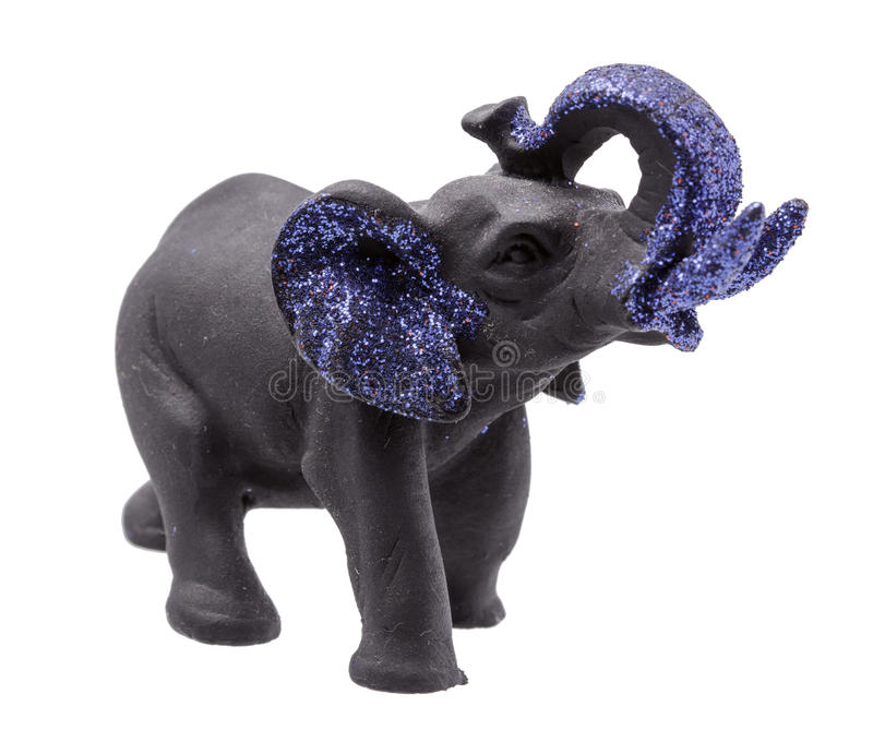 Het zwarte Olifantsbeeldje met Blauw schittert op wit royalty-vrije stock afbeelding