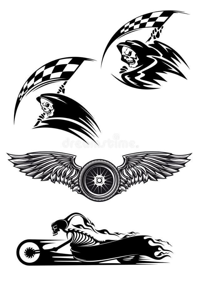 Het zwarte ontwerp van de motocrossmascotte royalty-vrije illustratie
