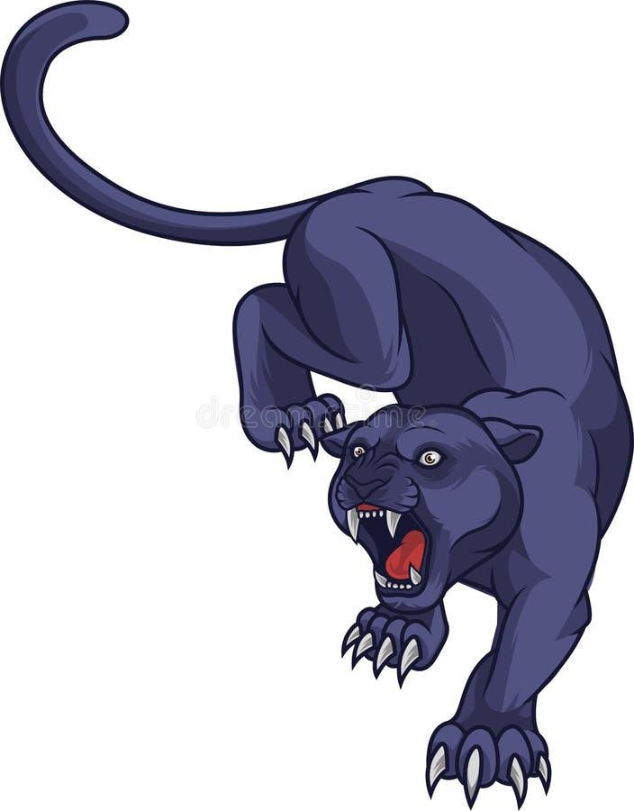 Het zwarte panter aanvallen royalty-vrije illustratie