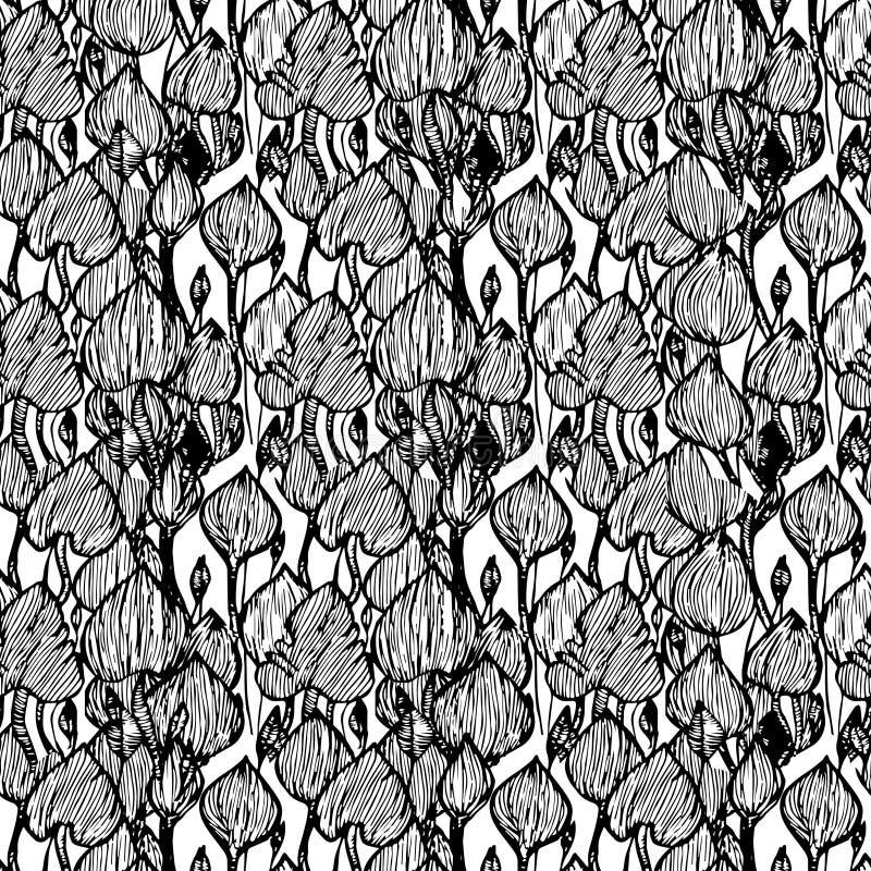 Het zwarte patroon van de Monsteraabstractie stock illustratie