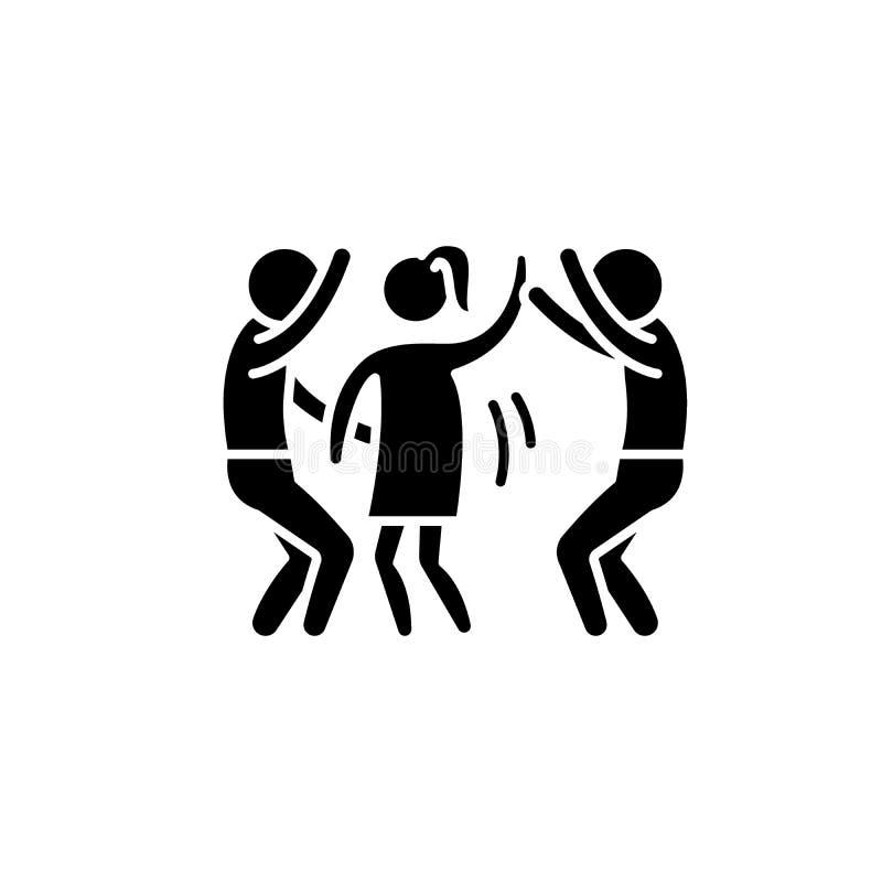 Het zwarte pictogram van de danspartij, vectorteken op geïsoleerde achtergrond Het conceptensymbool van de danspartij, illustrati vector illustratie