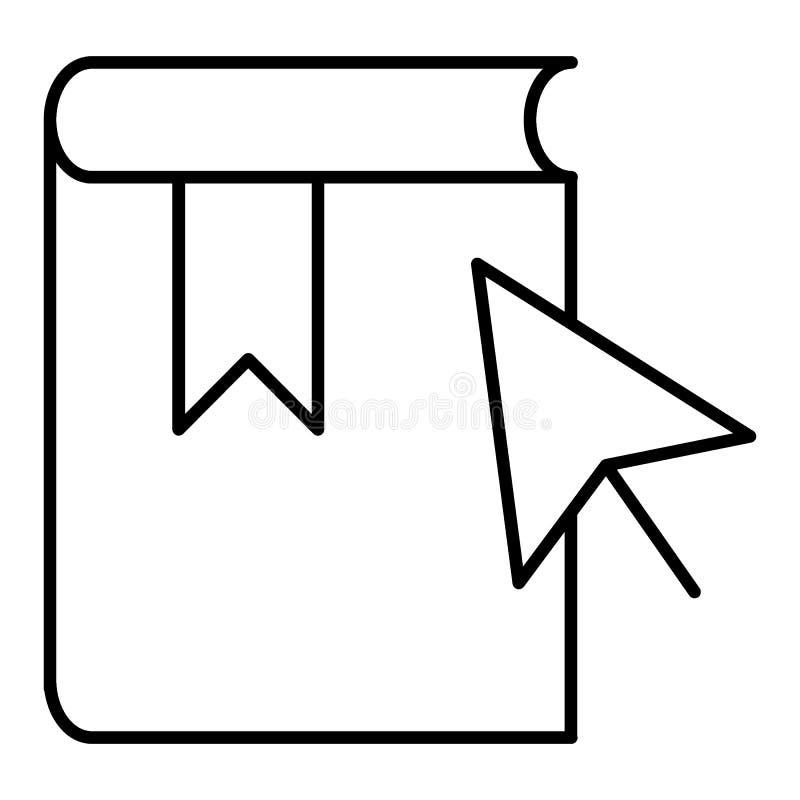 Het zwarte pictogram van de e-lerend boeklijn EBook vectorpictogram en curseur Overzichtsontwerp royalty-vrije illustratie