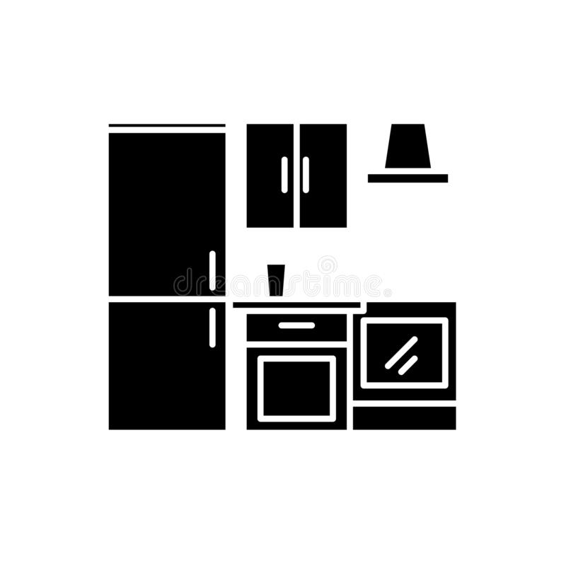 Het zwarte pictogram van de keukengarderobe, vectorteken op geïsoleerde achtergrond Het conceptensymbool van de keukengarderobe,  vector illustratie