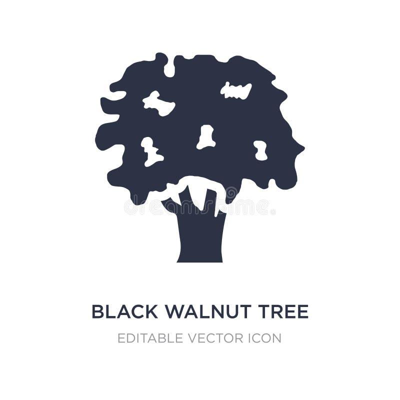 het zwarte pictogram van de okkernootboom op witte achtergrond Eenvoudige elementenillustratie van Aardconcept royalty-vrije illustratie