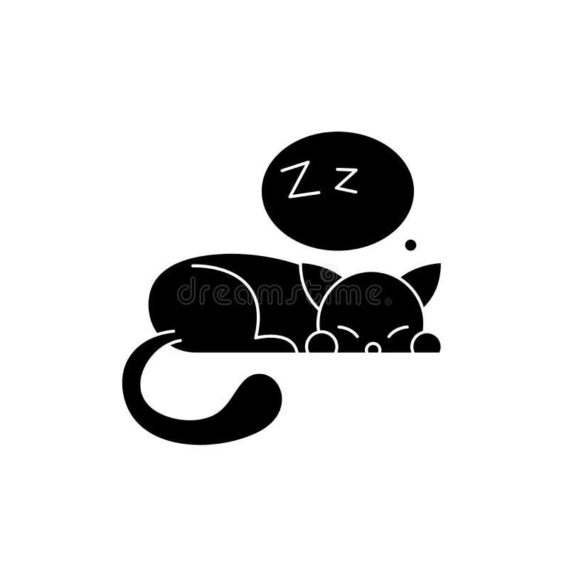 Het zwarte pictogram van de slaapkat, vectorteken op geïsoleerde achtergrond Het conceptensymbool van de slaapkat, illustratie stock illustratie