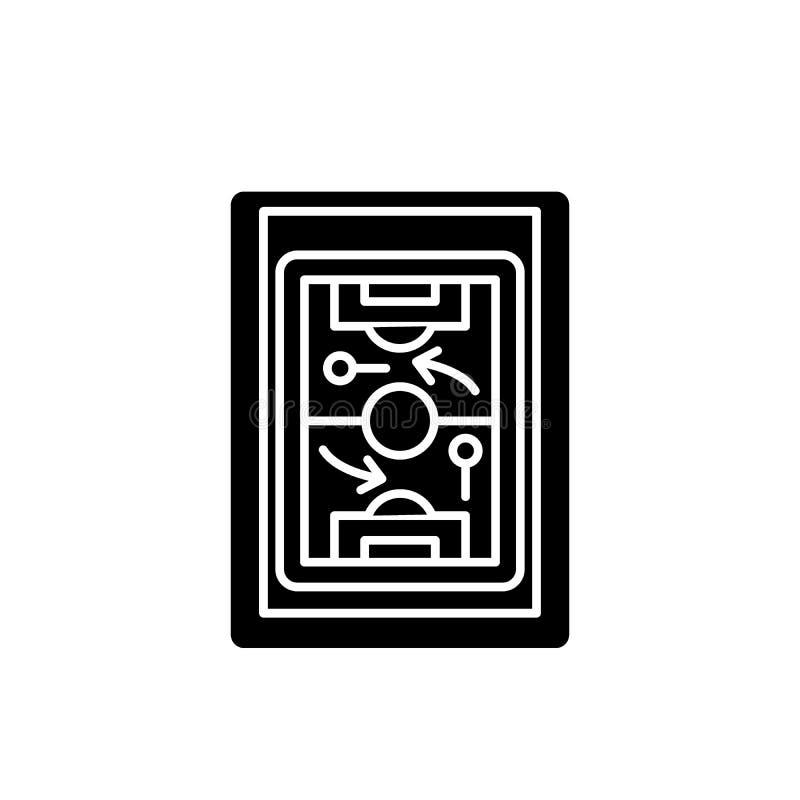 Het zwarte pictogram van de sportentactiek, vectorteken op geïsoleerde achtergrond Het conceptensymbool van de sportentactiek, il royalty-vrije illustratie
