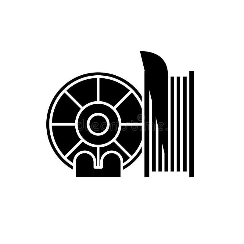 Het zwarte pictogram van drukmaterialen, vectorteken op geïsoleerde achtergrond Het conceptensymbool van drukmaterialen, illustra royalty-vrije illustratie