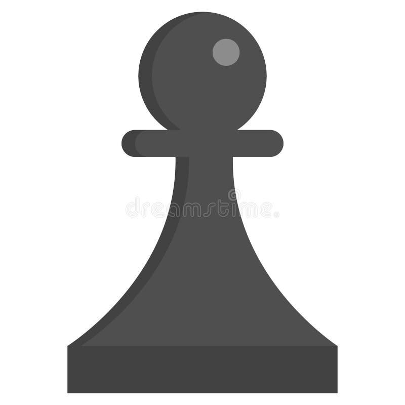 Het zwarte pictogram van het Schaakpand, vectorillustratie vector illustratie