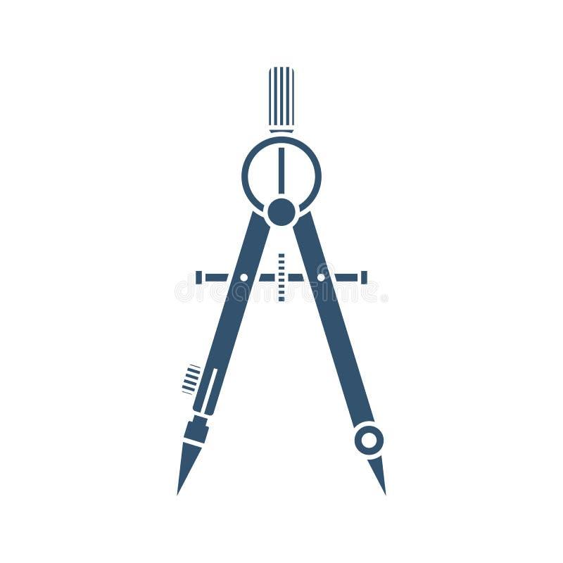 Het zwarte pictogram van het tekeningskompas vector illustratie