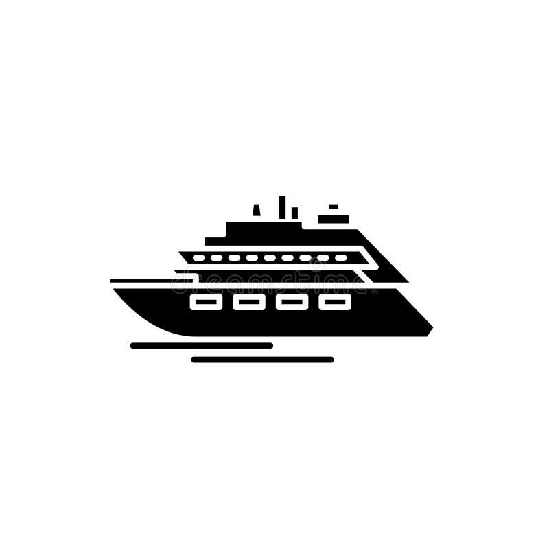 Het zwarte pictogram van het luxejacht, vectorteken op geïsoleerde achtergrond Het conceptensymbool van het luxejacht, illustrati royalty-vrije illustratie