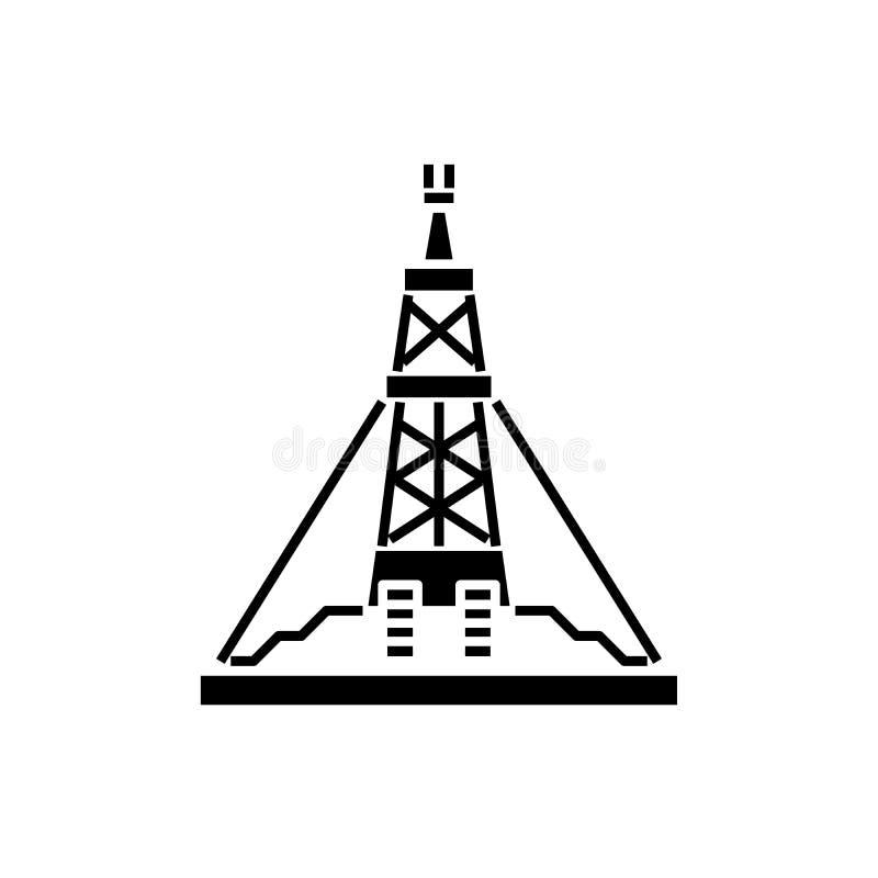 Het zwarte pictogram van het olieproductieplatform, vectorteken op geïsoleerde achtergrond Het conceptensymbool van het olieprodu stock illustratie