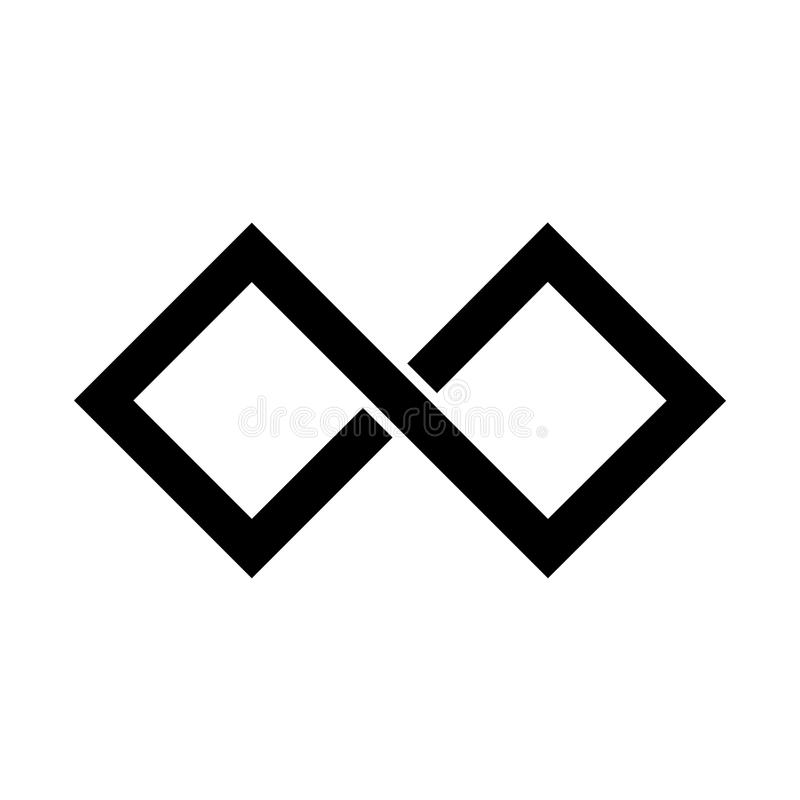 Het zwarte pictogram van het oneindigheidssymbool Rechthoekige vorm met scherpe randen Eenvoudig vlak vectorontwerpelement vector illustratie