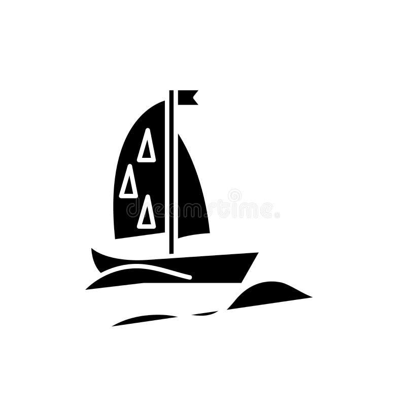Het zwarte pictogram van het sportenjacht, vectorteken op geïsoleerde achtergrond Het conceptensymbool van het sportenjacht, illu vector illustratie