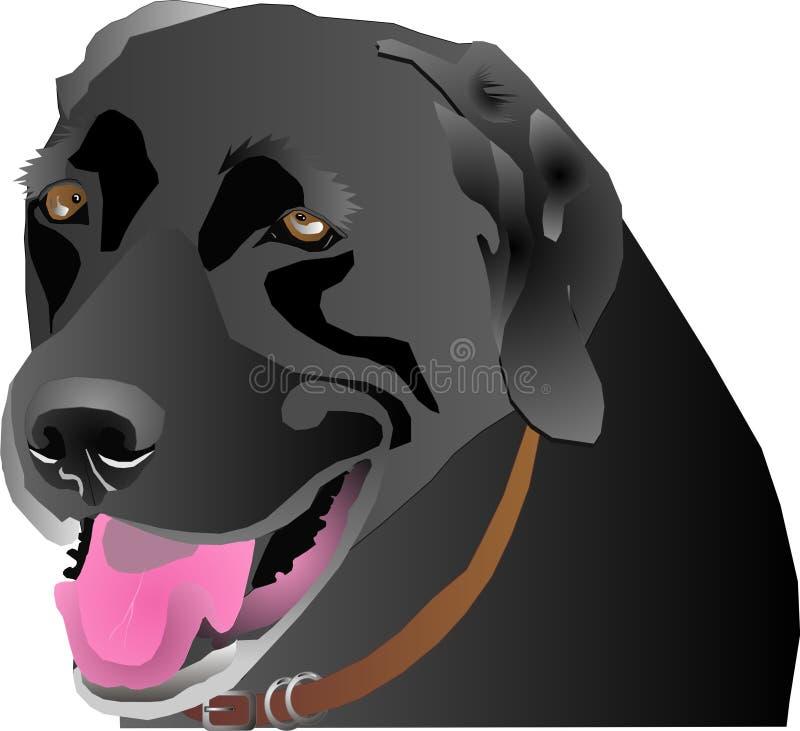 Het zwarte profiel van Labrador stock illustratie