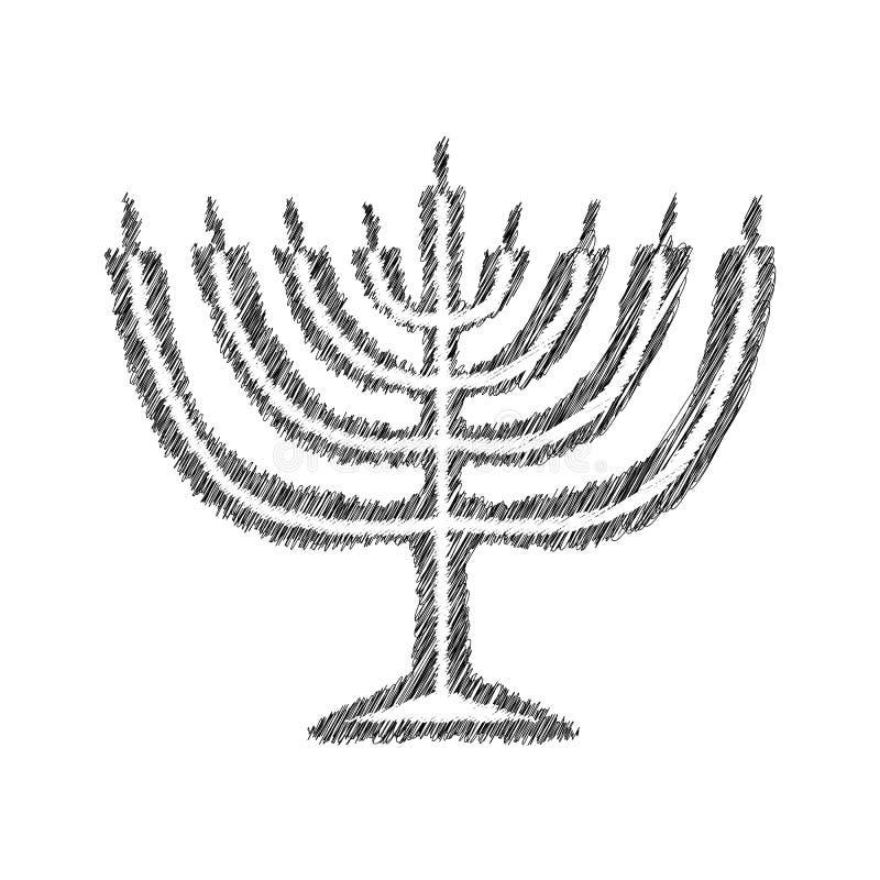 Het zwarte silhouet van de Chanoekakaars schets De tekening van de hand Joodse godsdienstige vakantiechanoeka Vectorillustratie  royalty-vrije illustratie