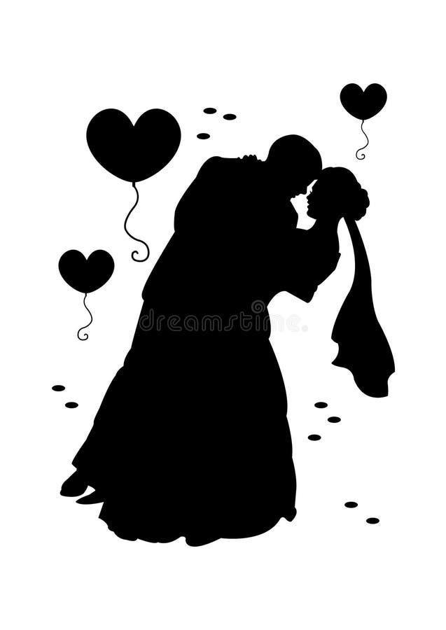 Het zwarte silhouet van de huwelijkspartij stock illustratie
