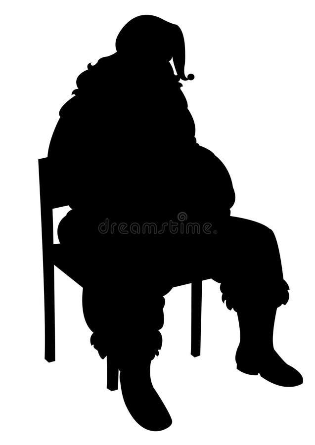 Het zwarte silhouet van de Kerstman royalty-vrije illustratie