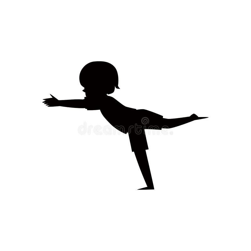 Het zwarte silhouet van een kind of het jonge geitje in yoga stelt vector geïsoleerde illustratie vector illustratie