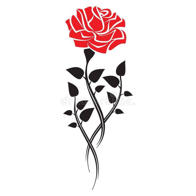 Het zwarte silhouet van nam met bladeren toe De tatoegeringsstijl nam toe Vector royalty-vrije illustratie