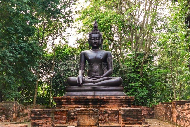 Het zwarte standbeeld van Boedha stock foto's