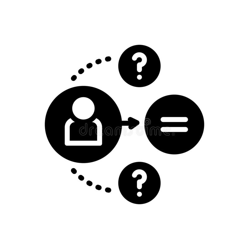 Het zwarte stevige pictogram voor Geantwoord, antwoord en antwoordt vector illustratie