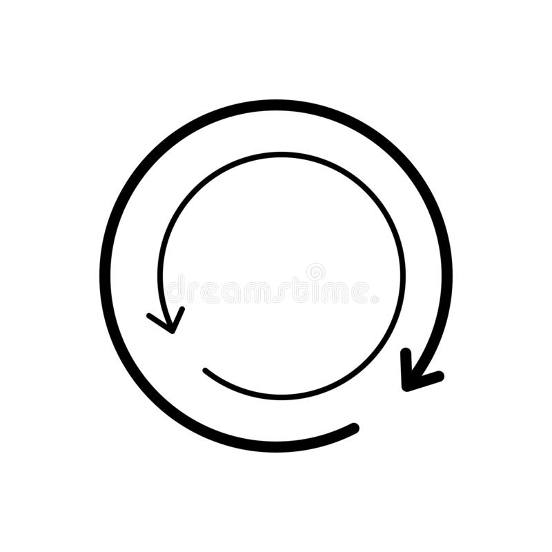Het zwarte stevige pictogram voor Herladen, lader en verfrist zich stock illustratie