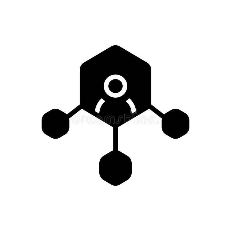 Het zwarte stevige pictogram voor Netwerkverbinding, verbindt en voorzien van een netwerk royalty-vrije illustratie