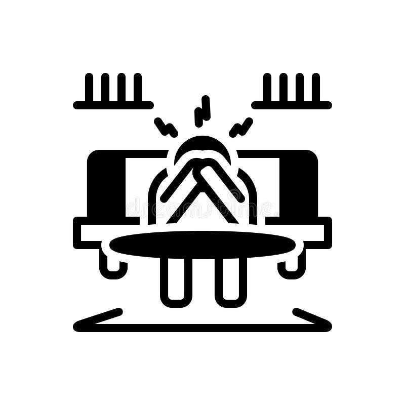 Het zwarte stevige pictogram voor Ontmoedigd, belemmering en disheartned vector illustratie