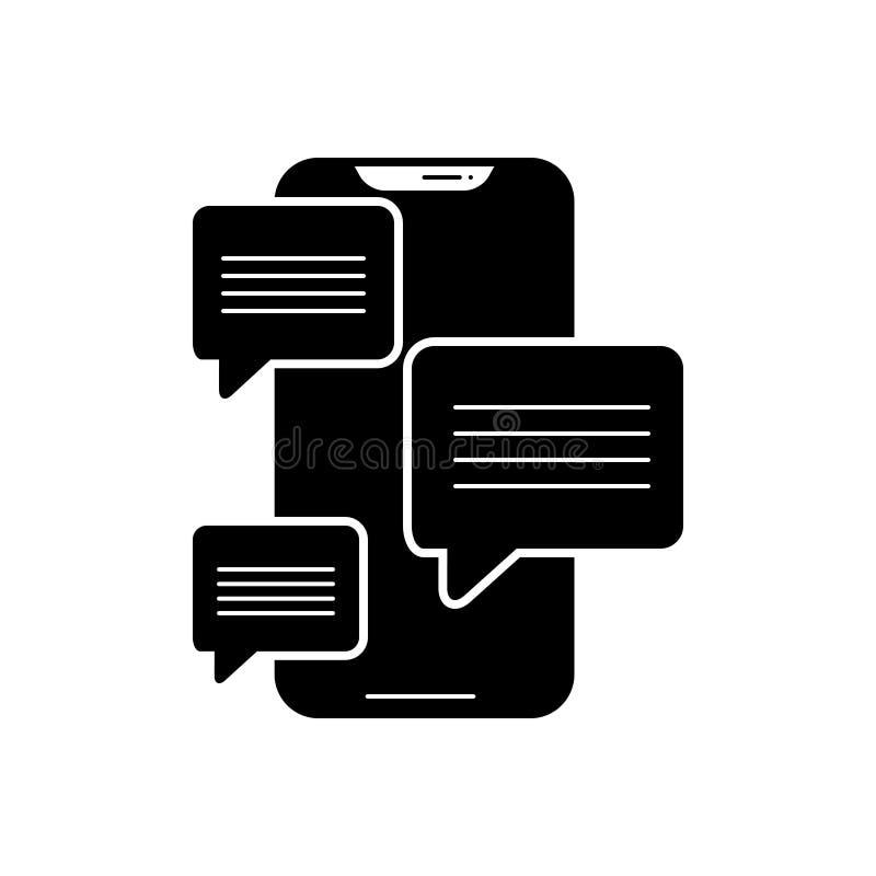 Het zwarte stevige pictogram voor Overseinen app, verzendt en babbelt vector illustratie