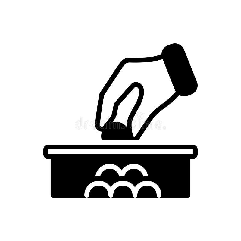 Het zwarte stevige pictogram voor Schenking, schenkt en dollar vector illustratie