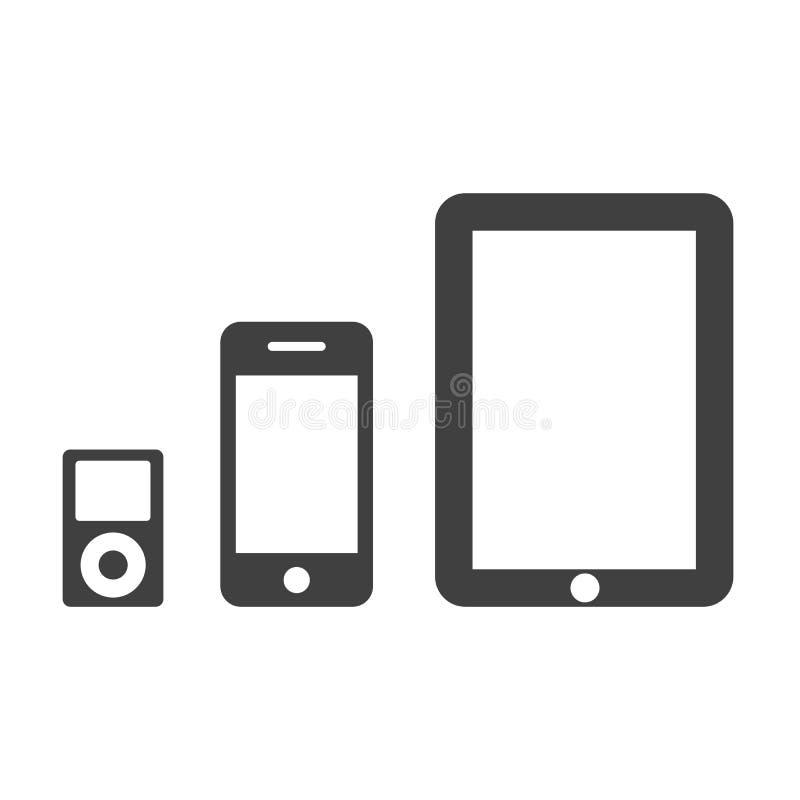 Het zwarte vastgestelde pictogram van technologieapparaten - voor voorraad stock illustratie