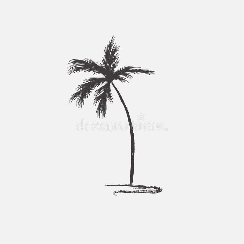 Het zwarte vector enige geïsoleerde pictogram van het palmsilhouet vector illustratie