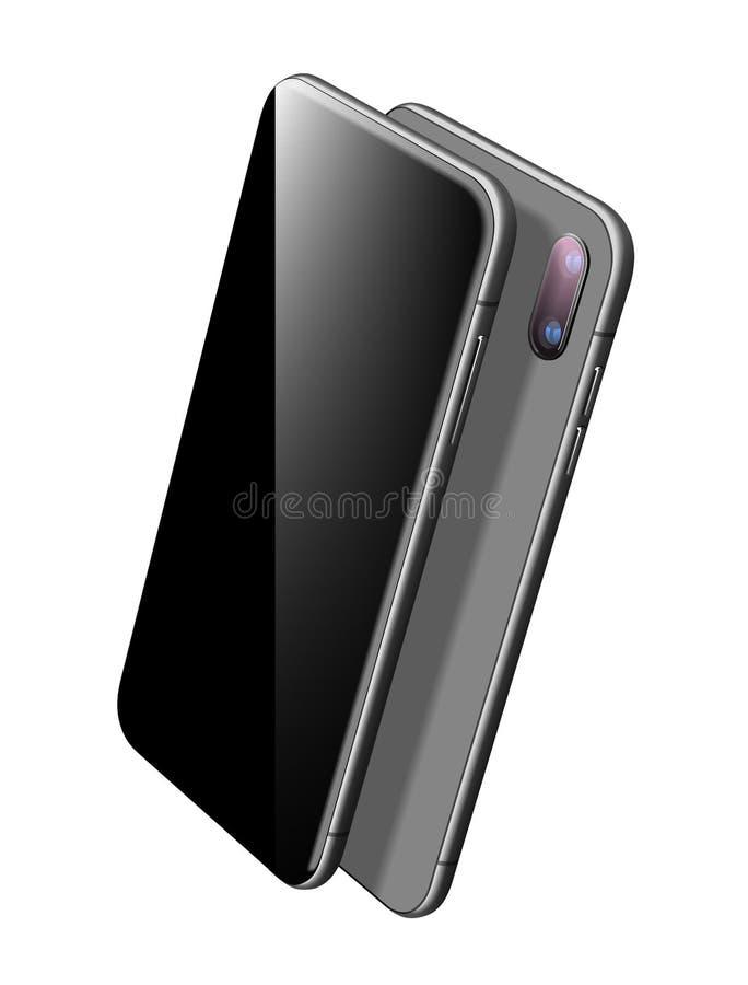 Het zwarte Vectormodel van Smartphone Ge?soleerd op wit vector illustratie