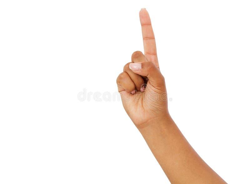 Het zwarte vingerpunt isoleerde witte achtergrond afro Amerikaanse hand Spot omhoog, Exemplaarruimte royalty-vrije stock afbeeldingen