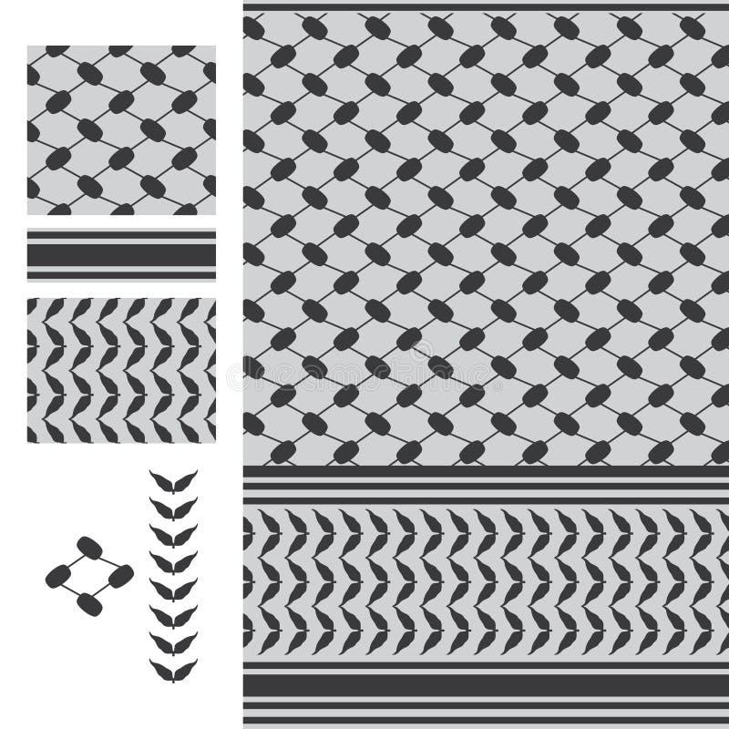 Het zwarte witte naadloze patroon van Palestina Keffieh royalty-vrije illustratie