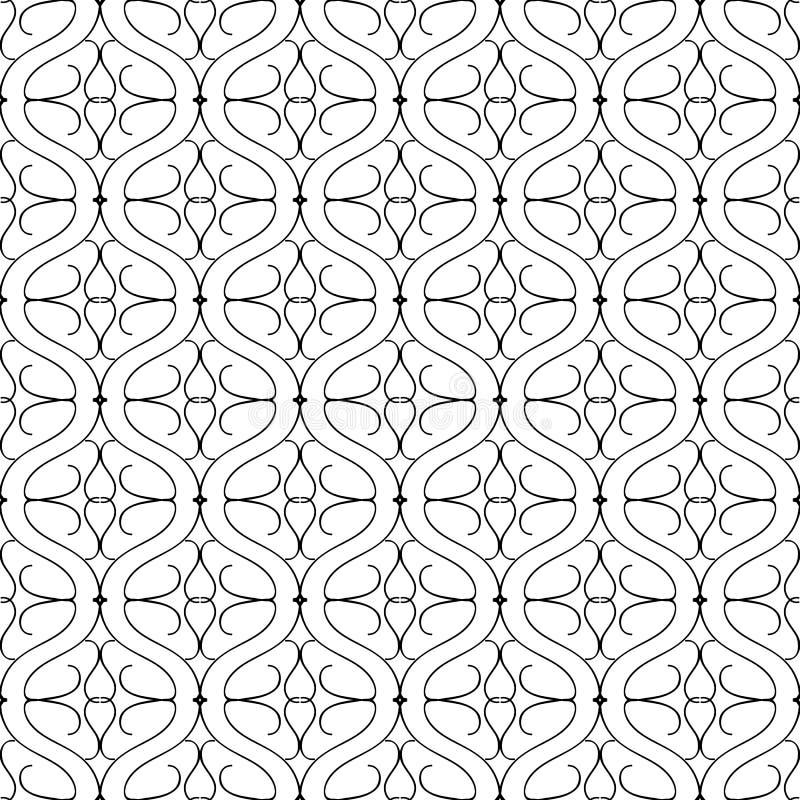 Het zwarte witte vector naadloze patroon van golflijnen arabesque Sier Arabische stijlachtergrond Herhaal zwart-wit wijnoogst stock illustratie