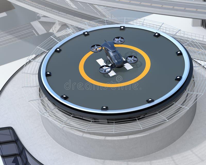 Het zwarte zelf-drijft parkeren van de passagiershommel op de helihaven stock illustratie